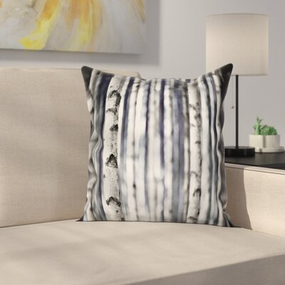 Birch Tree Trunks Grove Nature Square Pillow Cover Size: 24 x 24