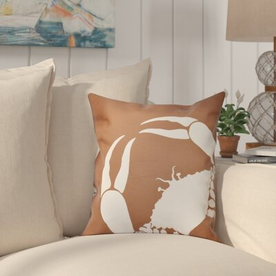 Shirley Mills Crab Dip Animal Print Throw Pillow Size: 26 H x 26 W, Color: Taupe/Beige