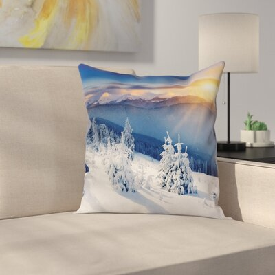 Winter Sunrise at Mountain Square Pillow Cover Size: 24 x 24