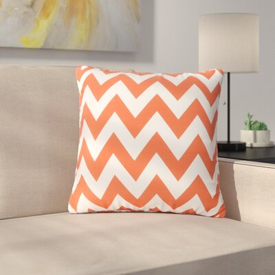 Mayhew Square Outdoor Throw Pillow Color: Orange/White