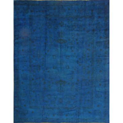 Genuine Over-Dyed Oushak Hand-Knotted Wool Blue Area Rug