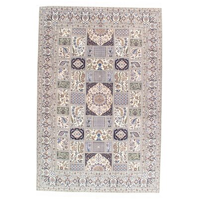 Persian Genuine Nain Hand-Knotted Wool Ivory Area Rug