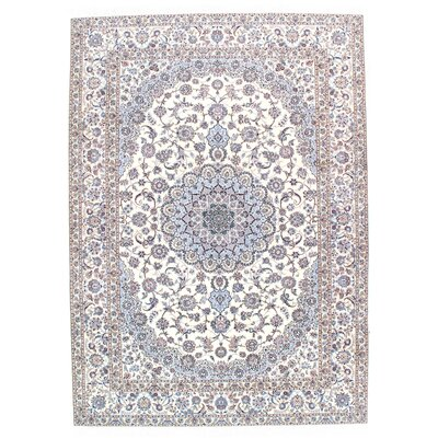 Persian Genuine Nain Hand-Knotted Wool Beige/Blue Area Rug