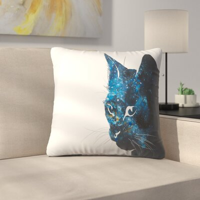 Cosmic Cat Silhouette Throw Pillow Size: 16 x 16
