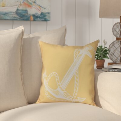 Hancock Anchored Geometric Print Outdoor Throw Pillow Size: 18 H x 18 W, Color: Yellow