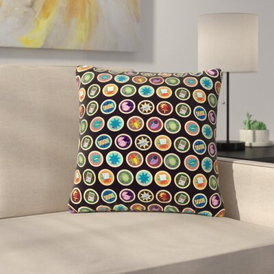 Stephanie Vaeth Toys, Games & Candy Pattern Outdoor Throw Pillow Size: 16 H x 16 W x 5 D