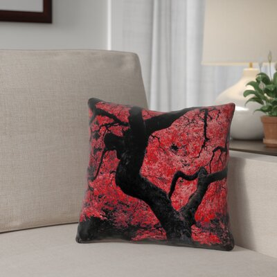 Ghost Train Japanese Maple Tree Printed Pillow Cover Color: Red, Size: 18