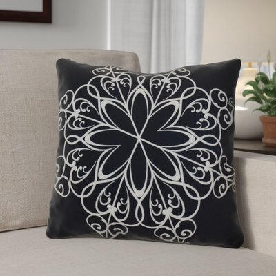 Decorative Snowflake Print Outdoor Throw Pillow Size: 20 H x 20 W, Color: Navy Blue