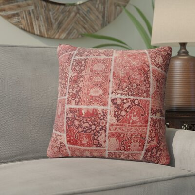 Duane Patchwork Throw Pillow Size: 16 H x 16 W x 6 D, Color: Red/ Pink/ Ivory