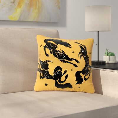 Anya Volk Dancing Wolves Abstract Outdoor Throw Pillow Size: 16 H x 16 W x 5 D