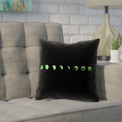 Enciso Moon Phases Square Pillow Cover Color: Green, Size: 14 x 14