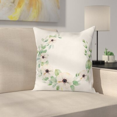 Anemone Fresh Plants Square Cushion Pillow Cover Size: 24