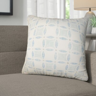 Demi Geometric Linen Throw Pillow Color: Blue