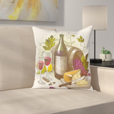 Wine Vintage Wine and Cheese Square Pillow Cover Size: 18 x 18