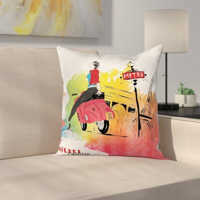 Eiffel Tower Street Fashion Square Pillow Cover Size: 16 x 16