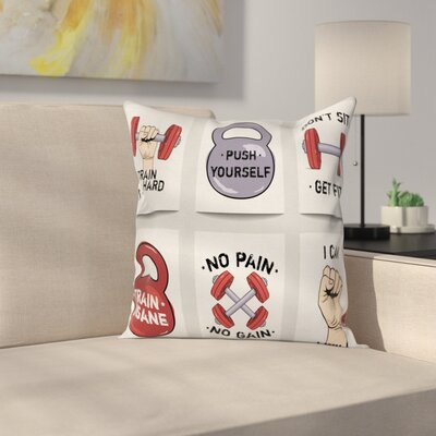 Fitness Cartoon Motivational Square Pillow Cover Size: 16 x 16