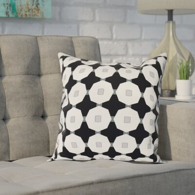 Waller Button Up Geometric Outdoor Throw Pillow Size: 18 H x 18 W, Color: Black