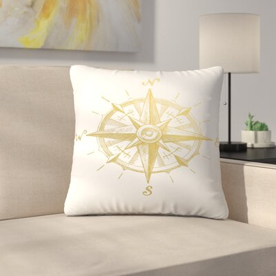 Gold Foil Compass Throw Pillow Size: 14 x 14