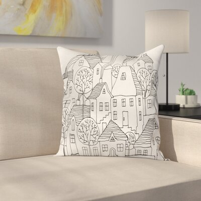 Houses Sketch Pillow Cover Size: 18 x 18
