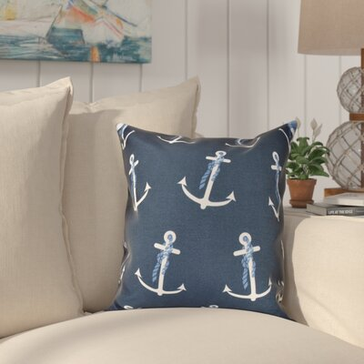 Hancock Anchor Whimsy Geometric Print Throw Pillow Size: 18 H x 18 W, Color: Navy Blue