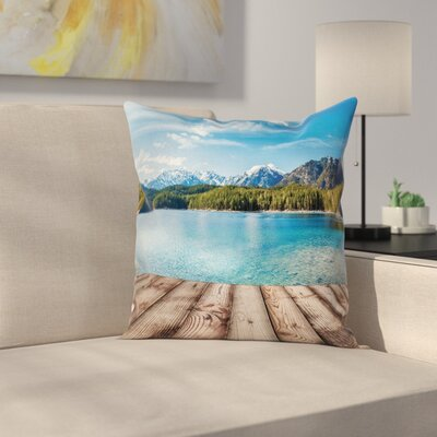 Nautical Lake Forest Mountain Square Pillow Cover Size: 16 x 16