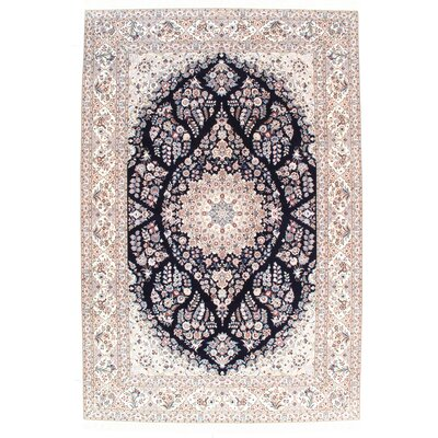 Persian Genuine Nain Hand-Knotted Wool Navy Blue/Ivory Area Rug