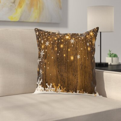 Christmas Wood and Snowflakes Square Pillow Cover Size: 20 x 20
