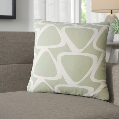 Cherish Geometric Cotton Throw Pillow Color: Light Green