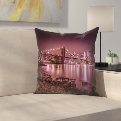 New York City Nightly Stroll Along The River Bank Throw Pillow Size: 16 x 16