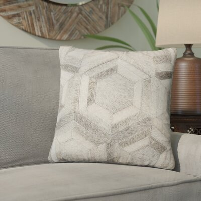 Graham Hand Woven Cowhide Throw Pillow Color: Grey