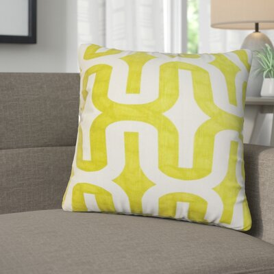 Angeline Geometric Square Cotton Throw Pillow Color: Green