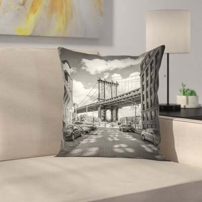 New York City Manhattan Bridge Throw Pillow Size: 14 x 14