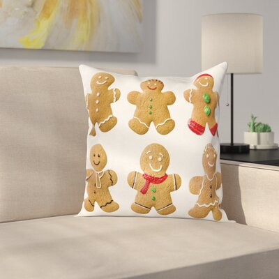 Gingerbread Man Homemade Sweet Square Pillow Cover Size: 16