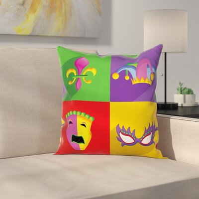 Mardi Gras Frame Icons Square Cushion Pillow Cover Size: 16 x 16