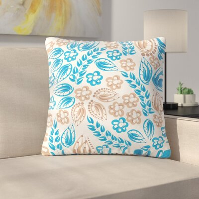 Flowers Throw Pillow Size: 20 H x 20 W x 7 D, Color: Blue / White