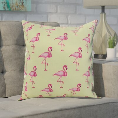 Carmack Flamingo Throw Pillow Color: Light Green, Size: 26 x 26