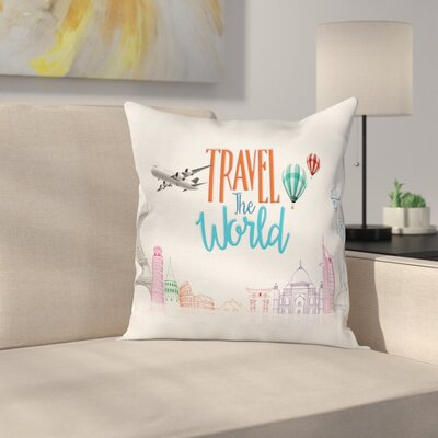Travel World Lettering Cushion Pillow Cover Size: 18 x 18