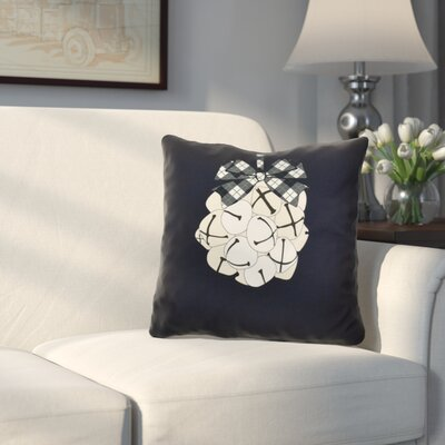 Holiday Jingle Bells Outdoor Throw Pillow Size: 18 H x 18 W, Color: Navy Blue