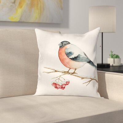 Cute Wild Bird Watercolor Square Pillow Cover Size: 18 x 18