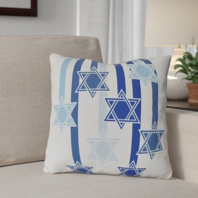 Shooting Stars Geometric Print Outdoor Throw Pillow Size: 20 H x 20 W, Color: White