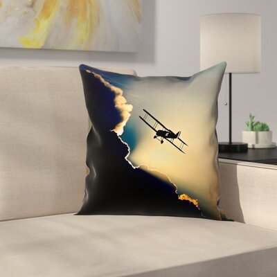 Plane in the Clouds Linen Pillow Cover Size: 26 x 26