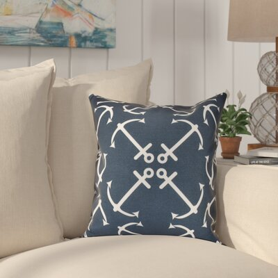 Hancock Anchors Up Geometric Print Outdoor Throw Pillow Size: 18 H x 18 W, Color: Navy Blue