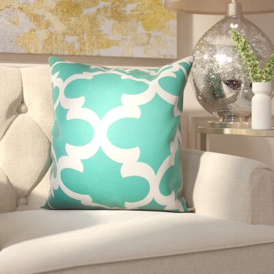 Clyburn 100% Cotton Throw Pillow Color: Jade, Size: 18 x 18