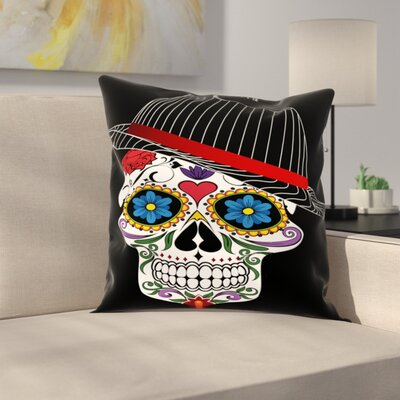 Hipster Horror Skull Halloween Throw Pillow Size: 20 H x 20 W x 2 D, Color: Black