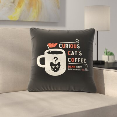 Curious Cats Coffee Throw Pillow Size: 18 x 18