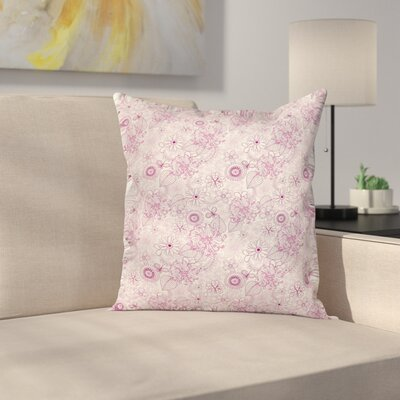 Retro Flowers Soft Tones Cushion Pillow Cover Size: 24 x 24