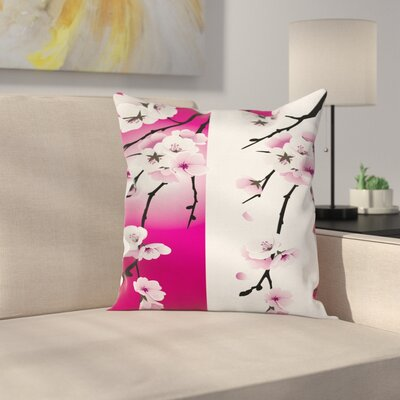 Waterproof Floral Square Pillow Cover with Zipper Size: 16 x 16