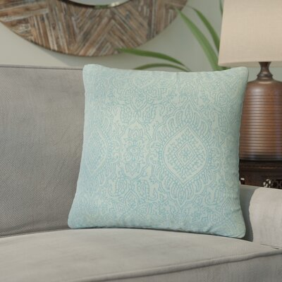 Amina Damask Cotton Throw Pillow Color: Turquoise