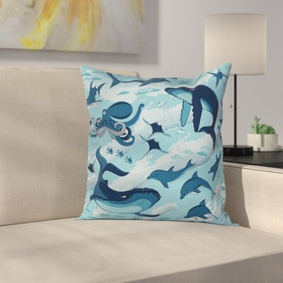 Dolphins Octopus Starfish Square Pillow Cover Size: 16 x 16