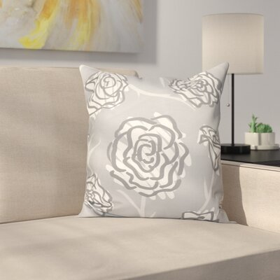 Speth Spring Floral Outdoor Throw Pillow Size: 18 H x 18 W, Color: Gray